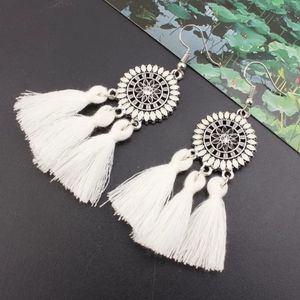 White Western Tribal Tassel Dangling Earrings